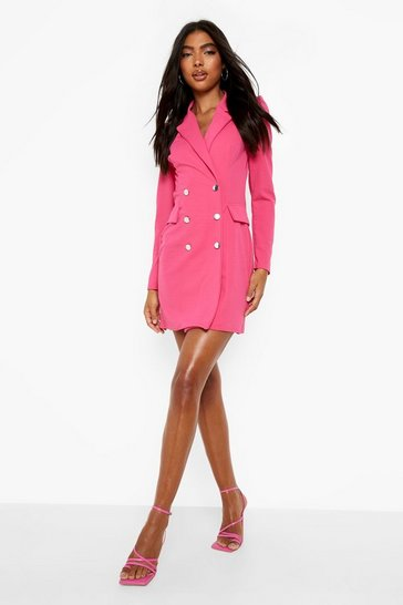Fuchsia Tall Puff Sleeve Blazer Dress