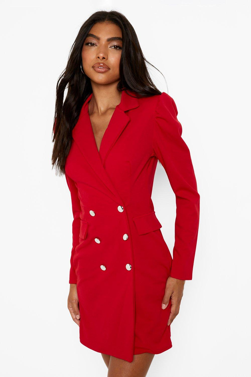 80s Dresses | Casual to Party Dresses Womens Tall Puff Sleeve Blazer Dress - Red - 14 $28.00 AT vintagedancer.com