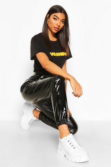 Womens Black Tall Vinyl Joggers