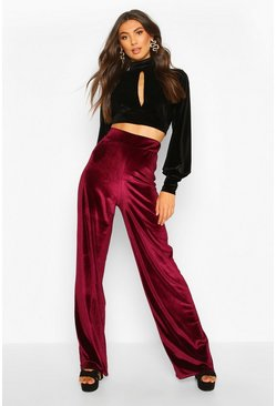 Tall Velvet Wide Leg Trousers, Berry