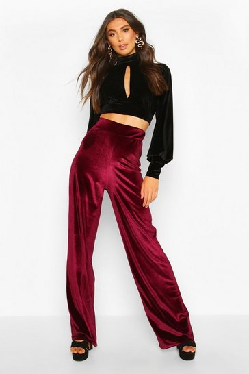 Womens Berry Tall Velvet Wide Leg Trousers