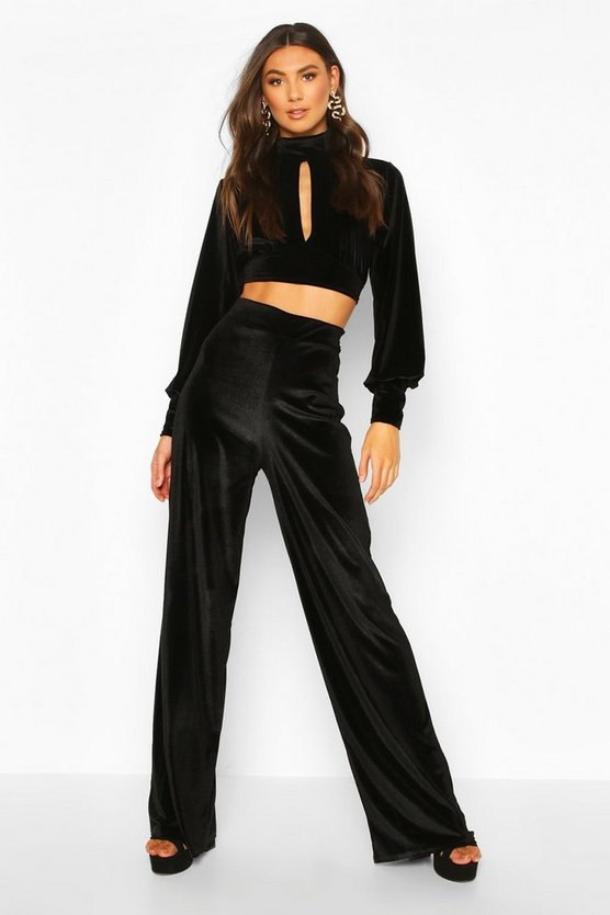 Tall Velvet Wide Leg Trousers