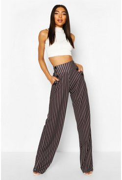 Black Tall High Waisted Pinstripe Trousers