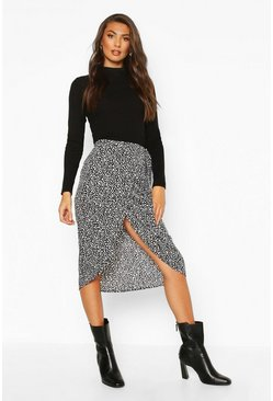 Tall Smudge Print Wrap Midi Skirt, Black, MUJER