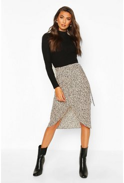 Tall Smudge Print Wrap Midi Skirt, Stone