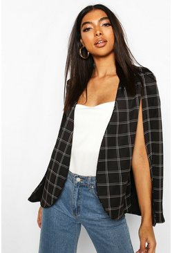 Tall Check Cape Blazer, Black