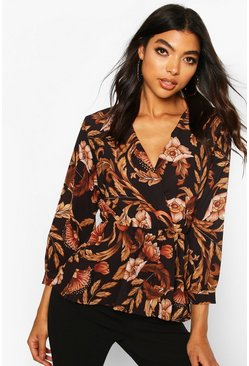 Tall Floral Print Peplum Blouse, Black