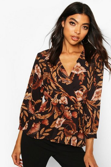 Black Tall Floral Print Peplum Blouse