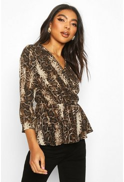 Tall Snake Print Peplum Blouse, Brown