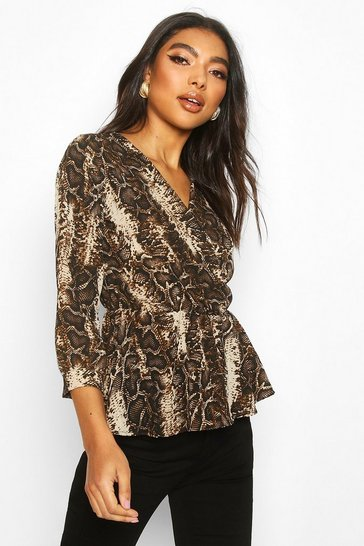 Brown Tall Snake Print Peplum Blouse