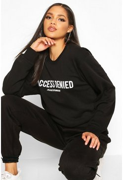 Womens Black Tall 'Access Denied' Slogan Sweat
