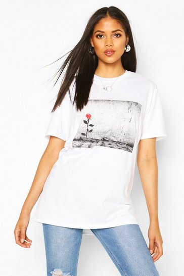Womens White Tall Rose Print T-Shirt