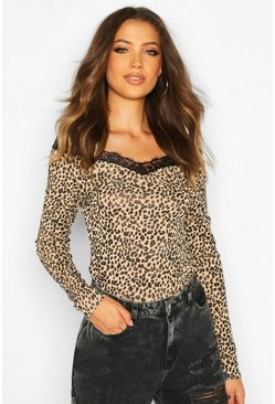 Tall Leopard Print Lace Trim Top