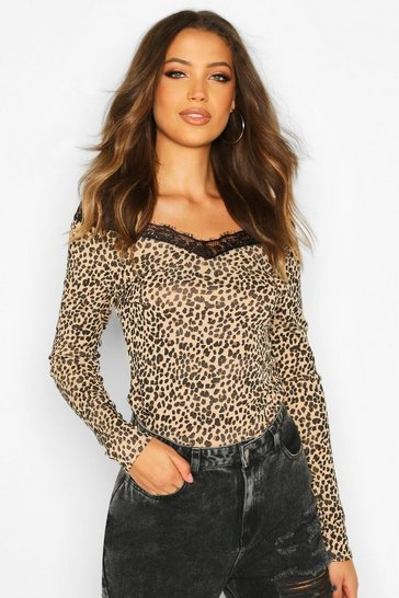 Womens Tall Leopard Print Lace Trim Top