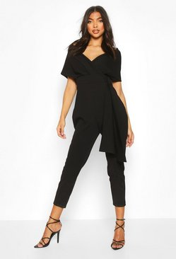 Womens Black Tall Off The Shoulder Belted Jumpsuit