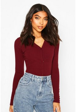Berry Tall Soft Rib Fitted Cardigan