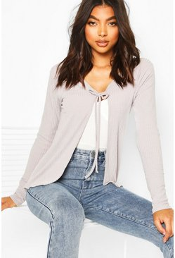 Womens Grey Tall Soft Rib Tie Front Cardigan