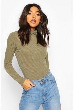 Khaki Tall Soft Rib Roll Neck Bodysuit