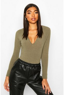 Khaki Tall Soft Rib V Neck Bodysuit