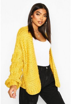 Tall Hand Knitted Bobble Sleeve Cardigan, Mustard
