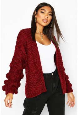 Wine Tall Hand Knitted Bobble Sleeve Cardigan