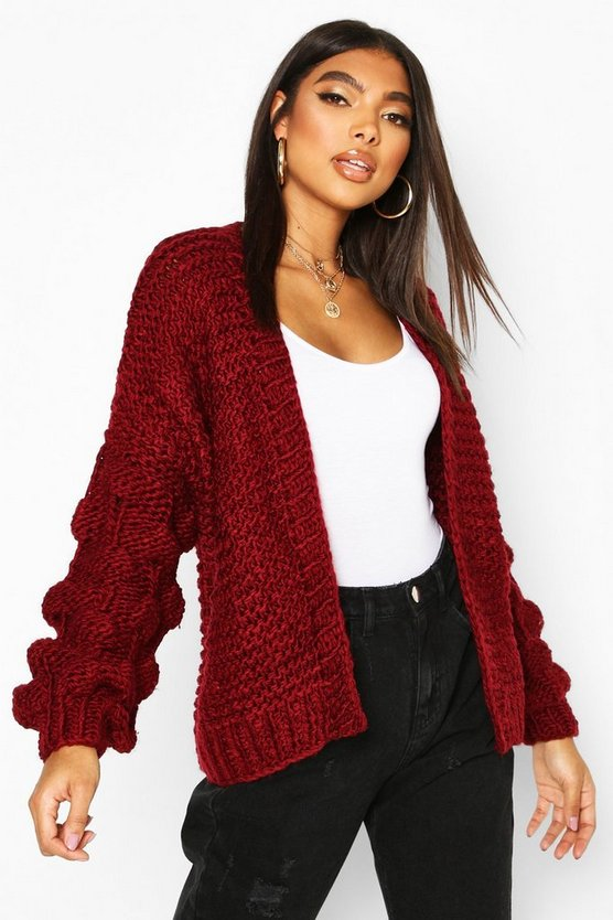 Tall Hand Knitted Bobble Sleeve Cardigan