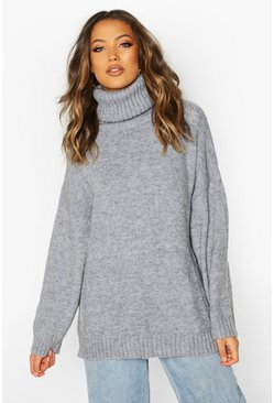 Womens Grey Tall Oversized Roll Neck Premium Jumper