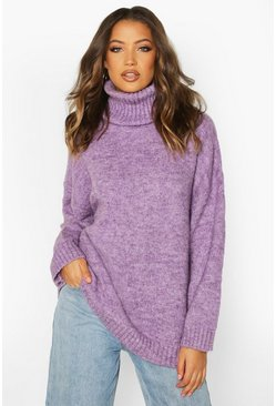 Womens Lilac Tall Oversized Roll Neck Premium Jumper