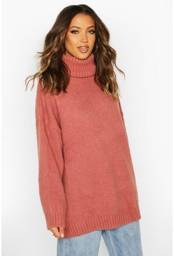 Pink Tall Oversized Roll Neck Premium Jumper