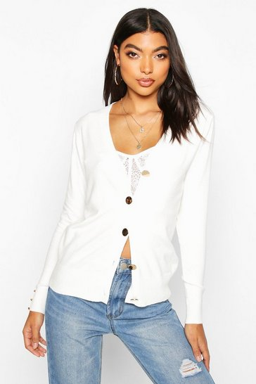Womens Cream Tall Gold Button Front Cardigan