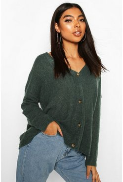 Tall Textured Knit Button Front Boxy Cardigan, Green