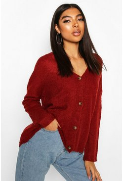 Wine Tall Textured Knit Button Front Boxy Cardigan