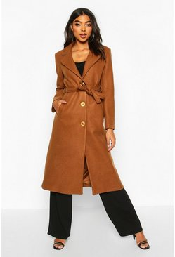 Camel Tall Wool Belted Longline Coat