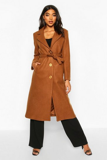 Womens Camel Tall Wool Belted Longline Coat