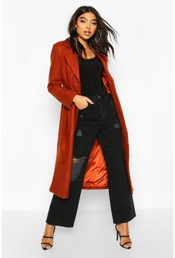 Womens Rust Tall Wool Belted Longline Coat