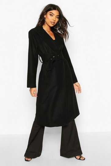 Black Tall Self Fabric Belted Longline Wool Coat
