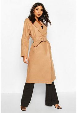 Womens Camel Tall Self Fabric Belted Longline Wool Coat