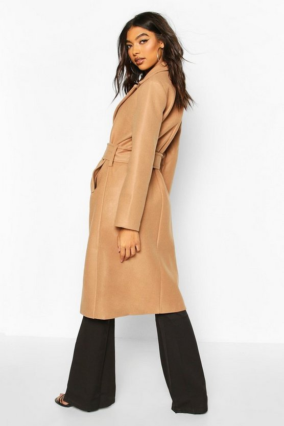 Tall Self Fabric Belted Longline Wool Coat