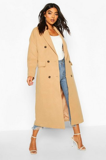 Womens Camel Tall Double Breasted Longline Wool Coat