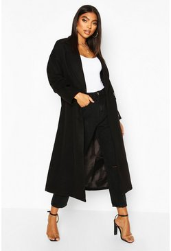 Tall Double Breasted Longline Wool Coat, Black