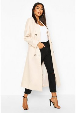 Womens Cream Tall Double Breasted Longline Wool Coat