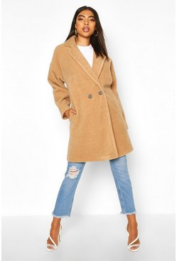 Camel Tall Brushed Wool Effect Button Front Coat