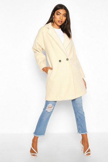 Cream Tall Brushed Wool Effect Button Front Coat