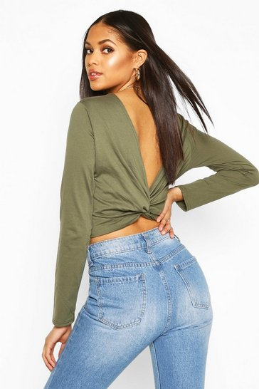 Womens Khaki Tall Long Sleeve Knot Back T-Shirt