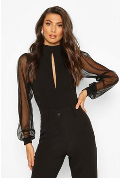 Womens Black Tall Mesh Sleeve Cut Out Bodysuit