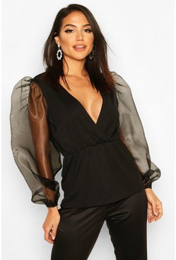 Black Tall Organza Balloon Sleeve Peplum Blouse