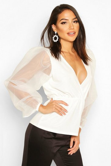 Womens White Tall Organza Balloon Sleeve Peplum Blouse
