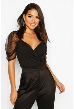 Tall Puff Sleeve Dobby Mesh Crop Top, Black