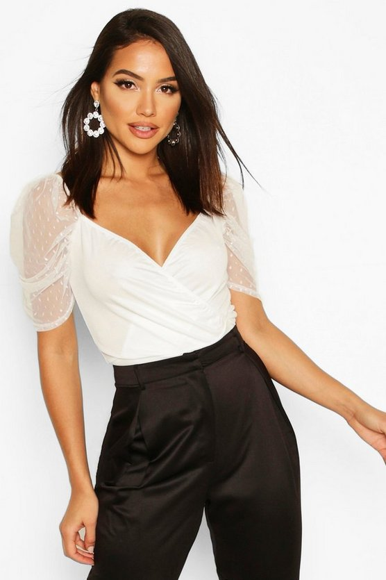 White Tall Puff Sleeve Dobby Mesh Crop Top