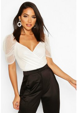 Tall Puff Sleeve Dobby Mesh Crop Top, White